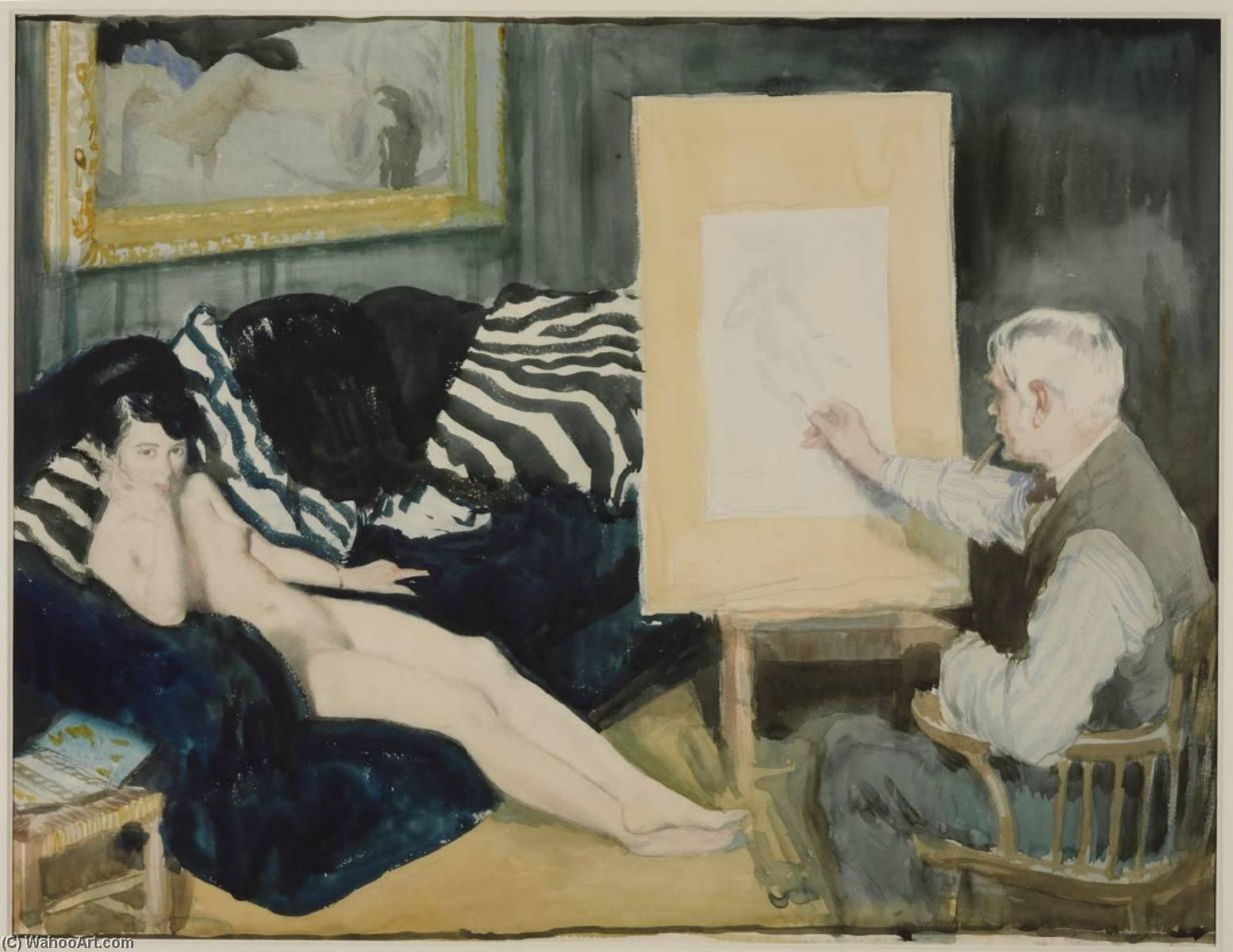 ザー モデル, 水彩画 バイ William Newenham Montague Orpen (1878-1931, Ireland)