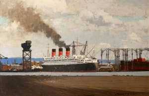 Norman Wilkinson - フィッティング でる RMS 'Queen Mary' クライドバンクで , 1936