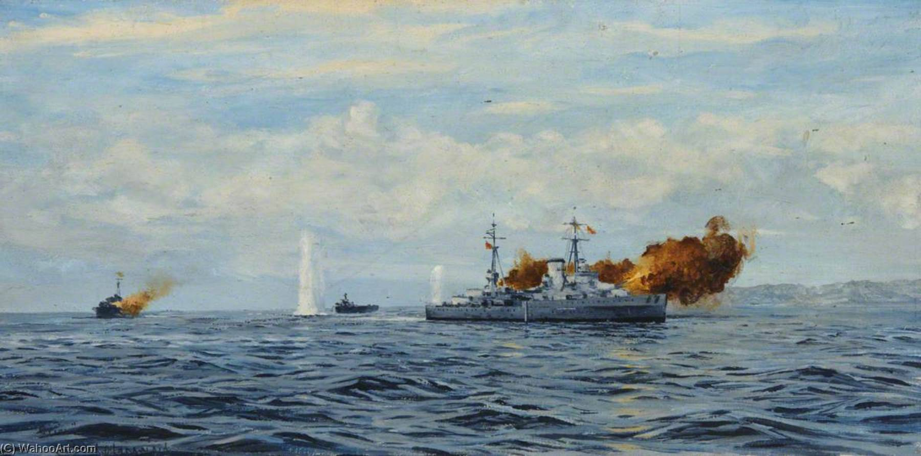HMS 'Orion' 砲撃 a 海岸, キャンバス年石油 バイ Rowland Langmaid