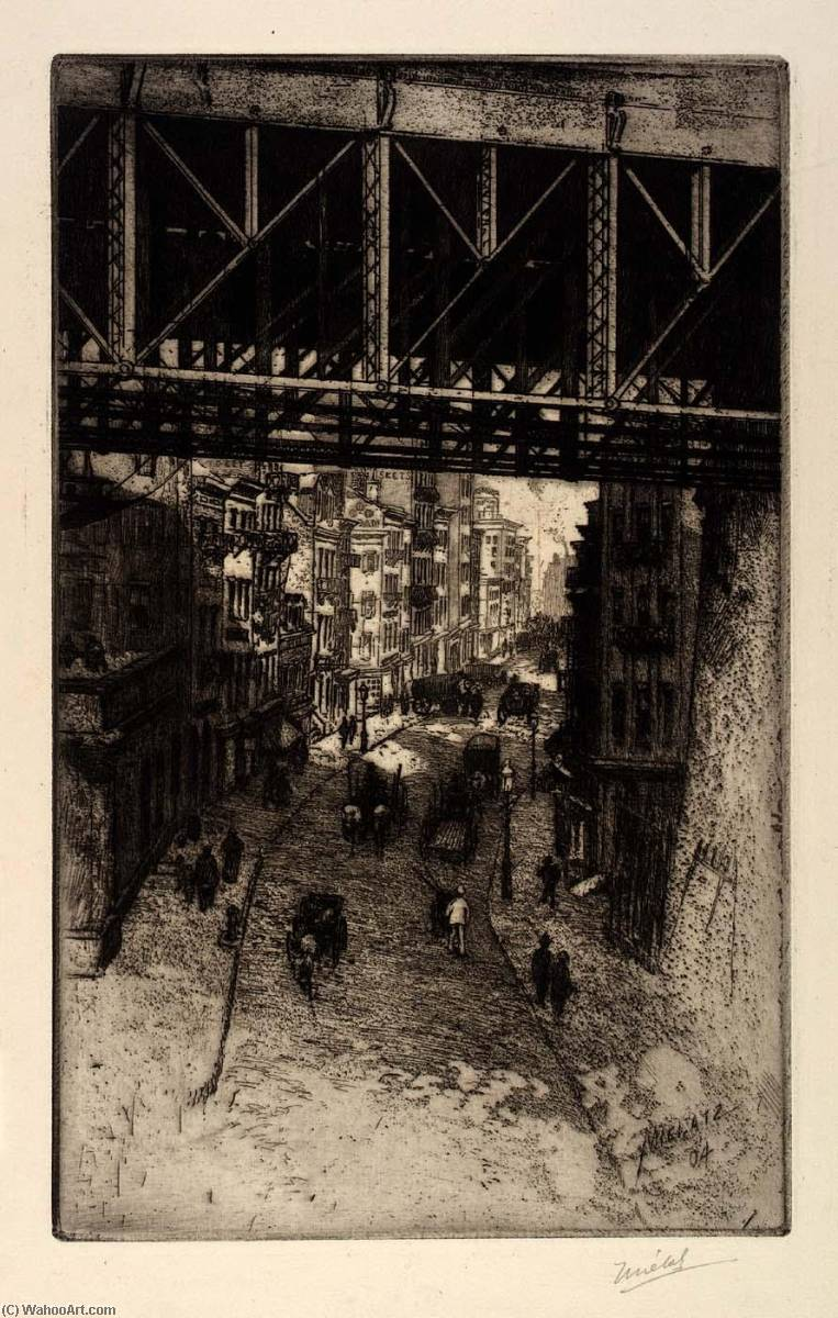 通り シーン 下  スチール  橋 , 1904 バイ Charles Frederick William Mielatz | 油絵 Charles Frederick William Mielatz | WahooArt.com