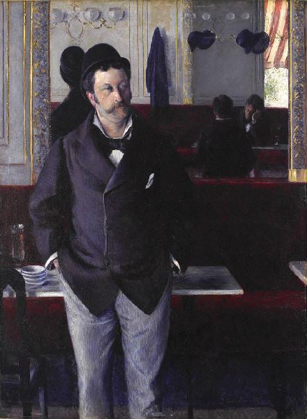 auの カフェ , オイル バイ Gustave Caillebotte (1848-1894, France)