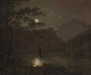 Joseph Wright Of Derby - A 湖 で 月光