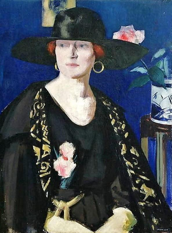 A 女性 インチ 黒 ゴールド バイ Francis Campbell Boileau Cadell (1883-1937)